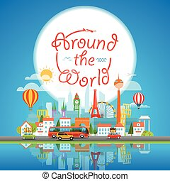 Vacation travelling concept. Around the world, Vector travel illustration