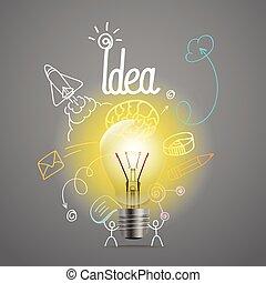 Bright lamp vector illustration. Idea concept
