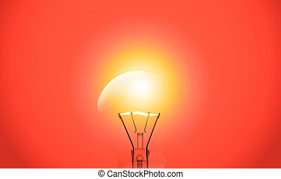 Bright lamp on red background
