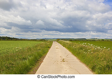 bridleway in the yorkshire wolds - a concrete section of a...