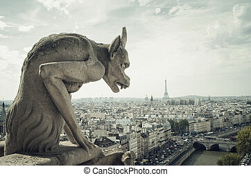 Gargoyle architectural fragment in Paris and Eiffel Tower -...