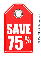 Discount 75 percent off. 3D illustration on white...