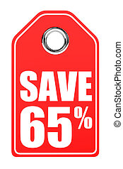 Discount 65 percent off 3D illustration on white background...