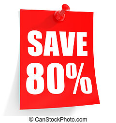 Discount 80 percent off 3D illustration on white background...