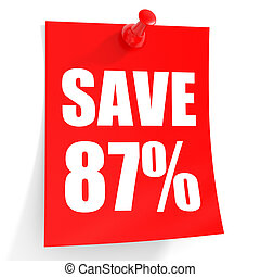 Discount 87 percent off 3D illustration on white background...