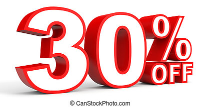 Discount 30 percent off 3D illustration on white background...