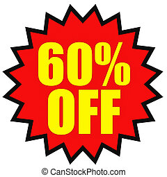 Discount 60 percent off 3D illustration on white background...
