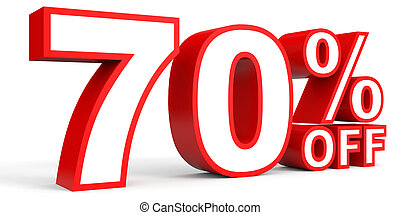 Discount 70 percent off. 3D illustration on white...