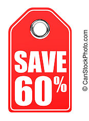 Discount 60 percent off. 3D illustration on white...