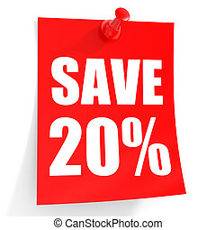 Discount 20 percent off. 3D illustration on white...