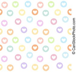 Motley seamless girly pattern with pastel colored heart circles