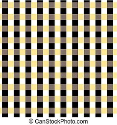 Seamless gingham pattern. Black, yellow, white and brown color