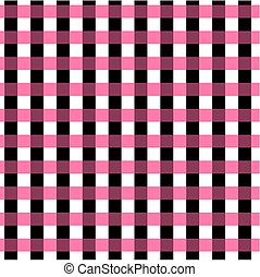 Seamless gingham pattern. Geometric background. Black, pink and white stripes