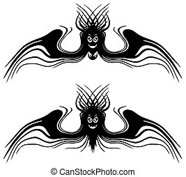 Halloween monsters with wings. Tattoo. Isolated