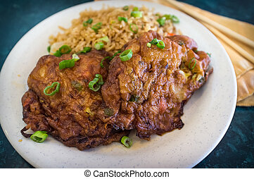 Egg Foo Yung - Chinese egg fu yung omelette with fried rice...