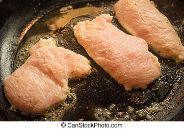 Frying Chicken Breast - Cooking fried chicken breast in...