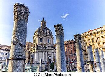 Ruins of Forum Romanum on Capitolium hill in Rome, Italy -...