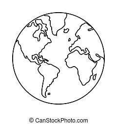 earth globe with distinction between water and land icon -...