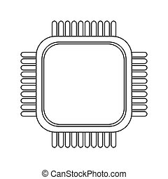 simple cpu icon - simple line design cpu icon vector...
