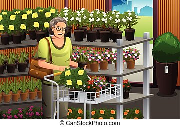 Senior Shopping Plant - A vector illustration of senior...
