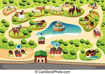 Petting Zoo Map - A vector illustration of petting zoo map