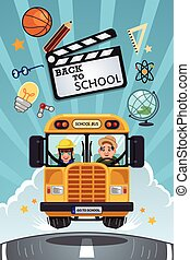 Back to School Poster - A vector illustration of back to...