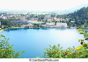 landscape of Bled lake in Sloveni