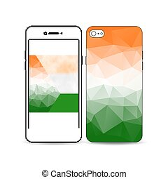 Mobile smartphone with an example of the screen and cover design isolated on white background. Happy Indian Independence Day celebration, national flag colors, vector illustration.