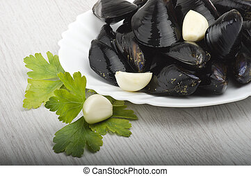 Fresh mussel close up on the white background