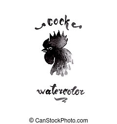 Chicken cock ink watercolor sketch brush hand drawn