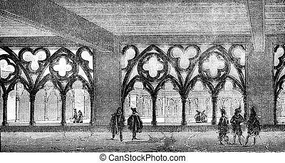 View of the cloister of the former college of Cluny Sorbonne...