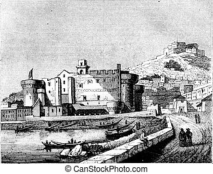 View of Chateau Neuf, in Naples, vintage engraving - View of...
