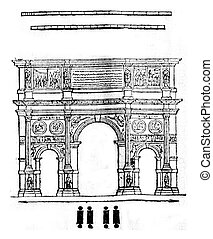 Arch of Constantine in Rome, vintage engraving. - Arch of...