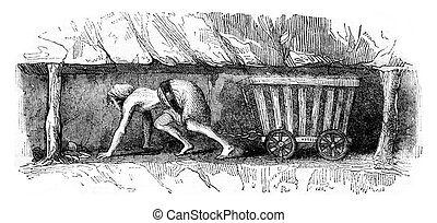 Girl dragging a wagon, vintage engraving - Girl dragging a...