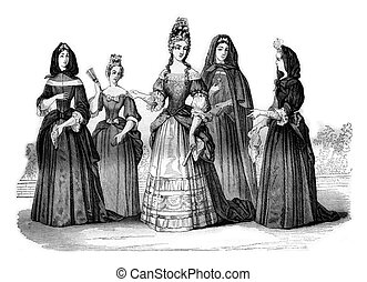 Establishment of the ladies of St Louis, vintage engraving -...