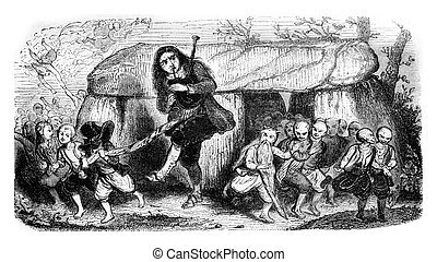 The legend of the bagpipe player, vintage engraving - The...