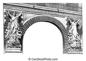 Classic style stone allegorical sculptures on the arch...