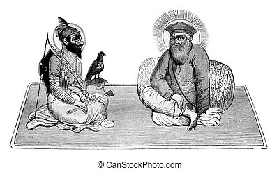 Guru Singh and Baba Nanak, founder of Sikh religion, and...