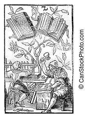 A bookbinders workshop in the middle ages, vintage engraving...