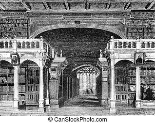 Interior of the Bodleian Library at the University of Oxford, vintage engraving.