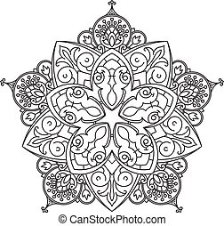 Abstract vector black lace design in mono line style -...