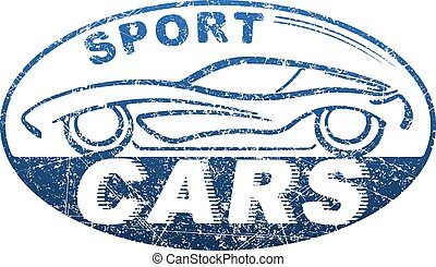 Sport cars blue oval rubber stamp design with silhouette of automobile