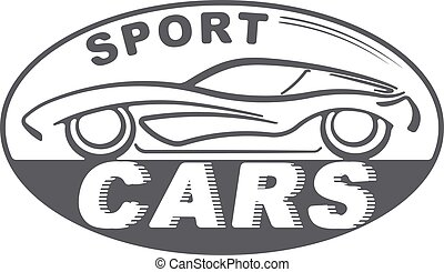 Sport cars gray oval design for your logo or other application with silhouette of automobile