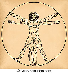 Vitruvian man on old paper background - Old aged paper with...