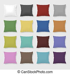 Set of realistic vector colored pillows - Set of realistic...