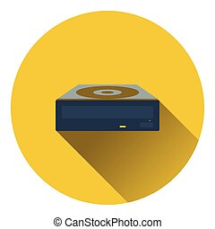 CD-ROM icon. Flat color design. Vector illustration.