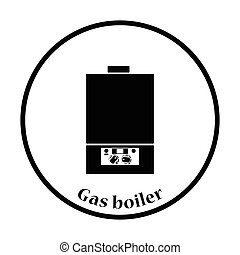 Gas boiler icon Thin circle design Vector illustration