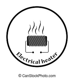 Electrical heater icon Thin circle design Vector...
