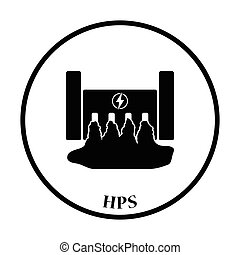 Hydro power station icon. Thin circle design. Vector...