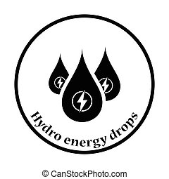 Hydro energy drops icon. Thin circle design. Vector...